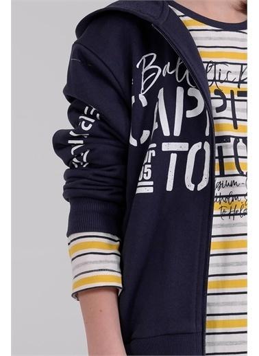 Silversun Kids Kapşonlu Baskılı Önden Fermuar Kapamalı Uzun Kol Erkek Çocuk Sweatshirt Jm 314915 Lacivert